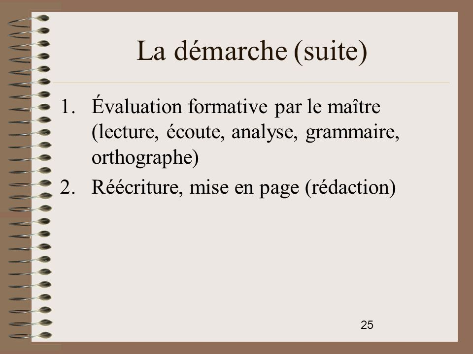 La démarche (suite) Évaluation formative par le maître (lecture, écoute, analyse, grammaire, orthographe)