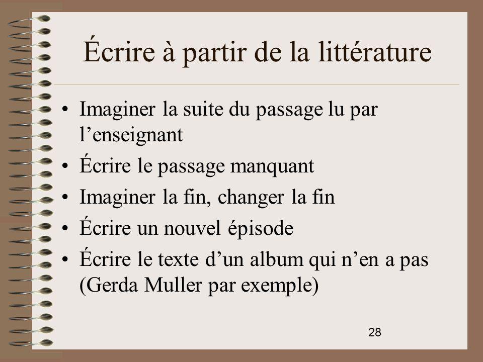 Écrire à partir de la littérature