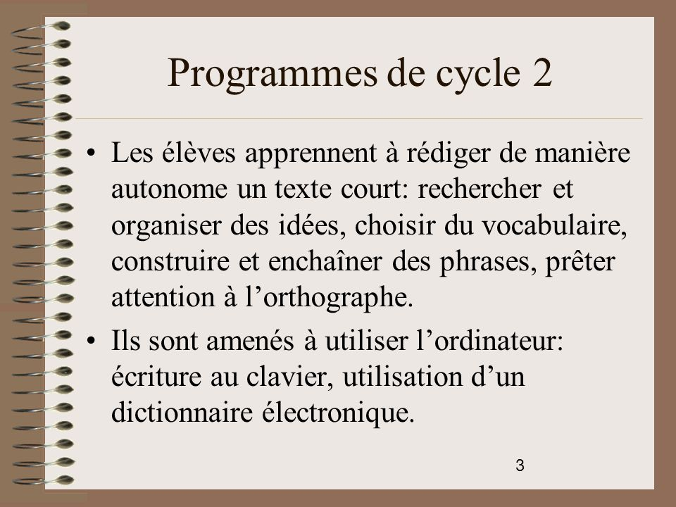 Programmes de cycle 2