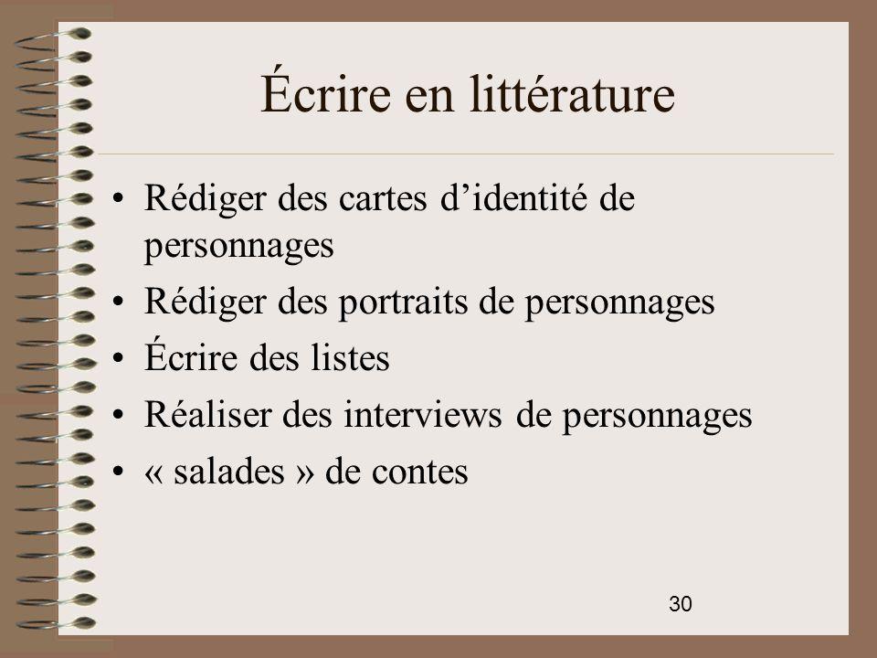 Écrire en littérature Rédiger des cartes d'identité de personnages