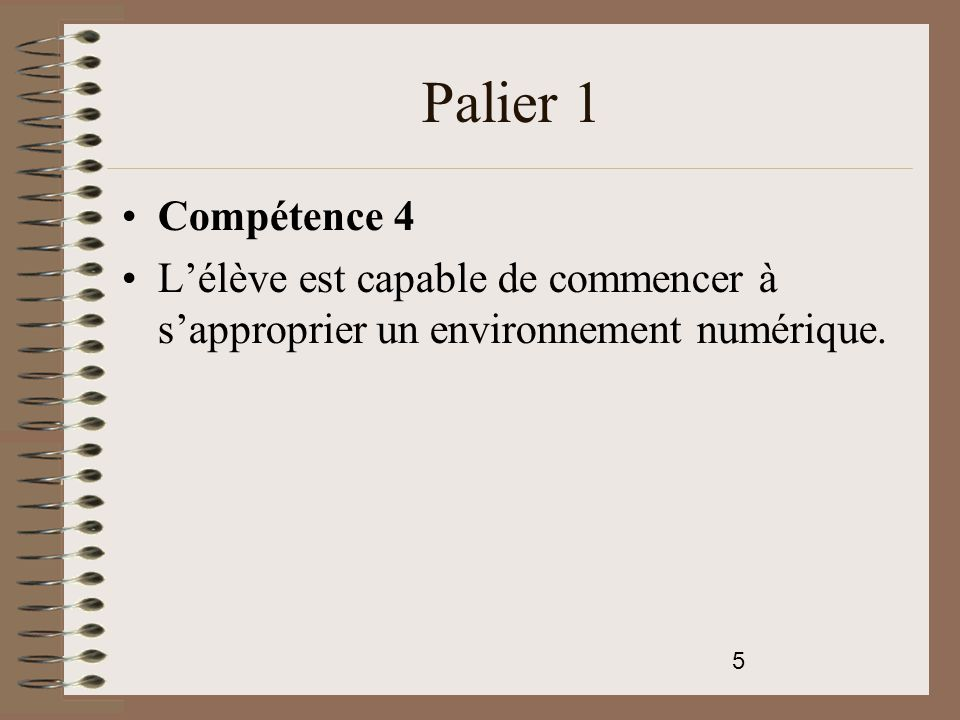 Palier 1 Compétence 4 L'élève est capable de commencer à s'approprier un environnement numérique.