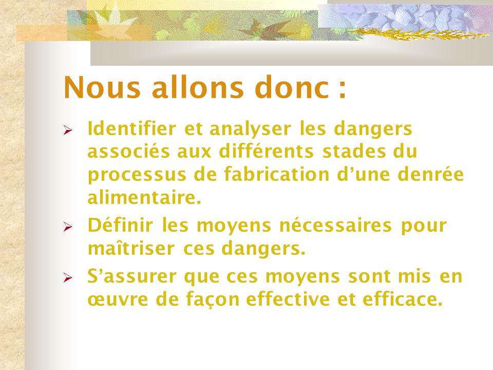Nous allons donc : Identifier et analyser les dangers associés aux différents stades du processus de fabrication d'une denrée alimentaire.