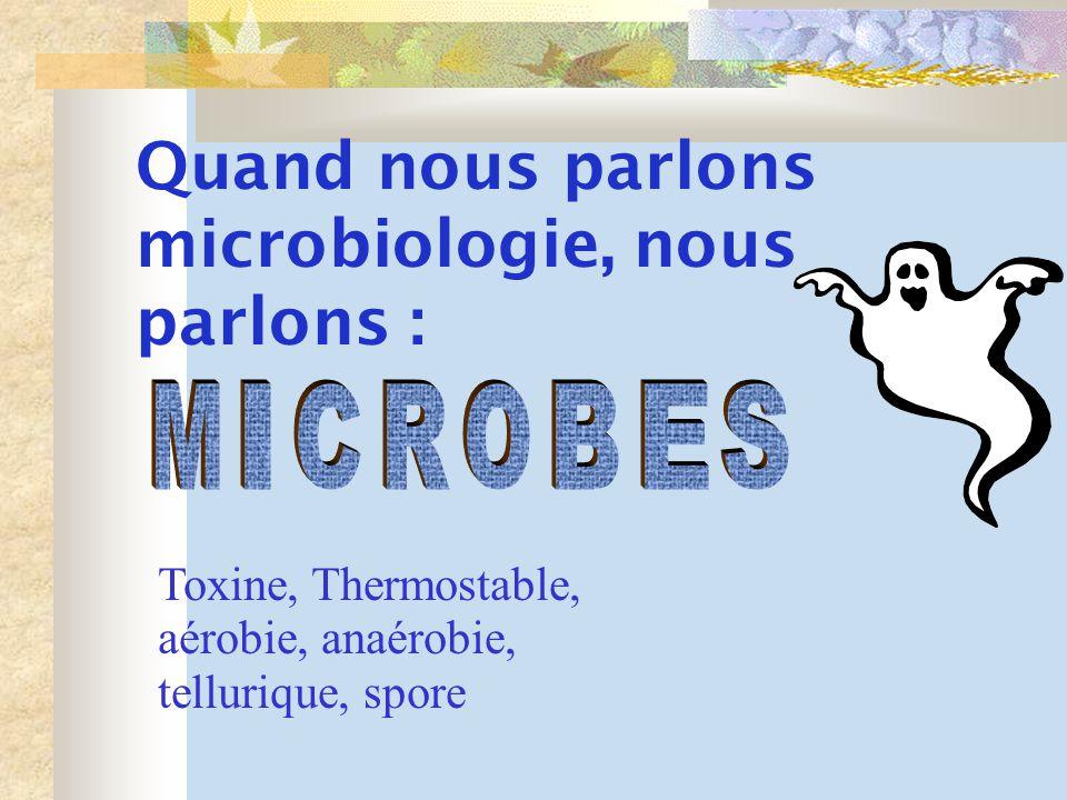 Quand nous parlons microbiologie, nous parlons :
