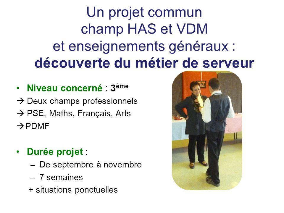Un projet commun champ HAS et VDM et enseignements généraux : découverte du métier de serveur