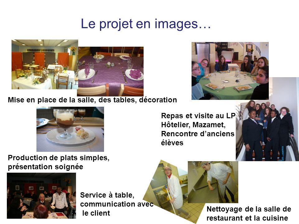 Le projet en images… Mise en place de la salle, des tables, décoration