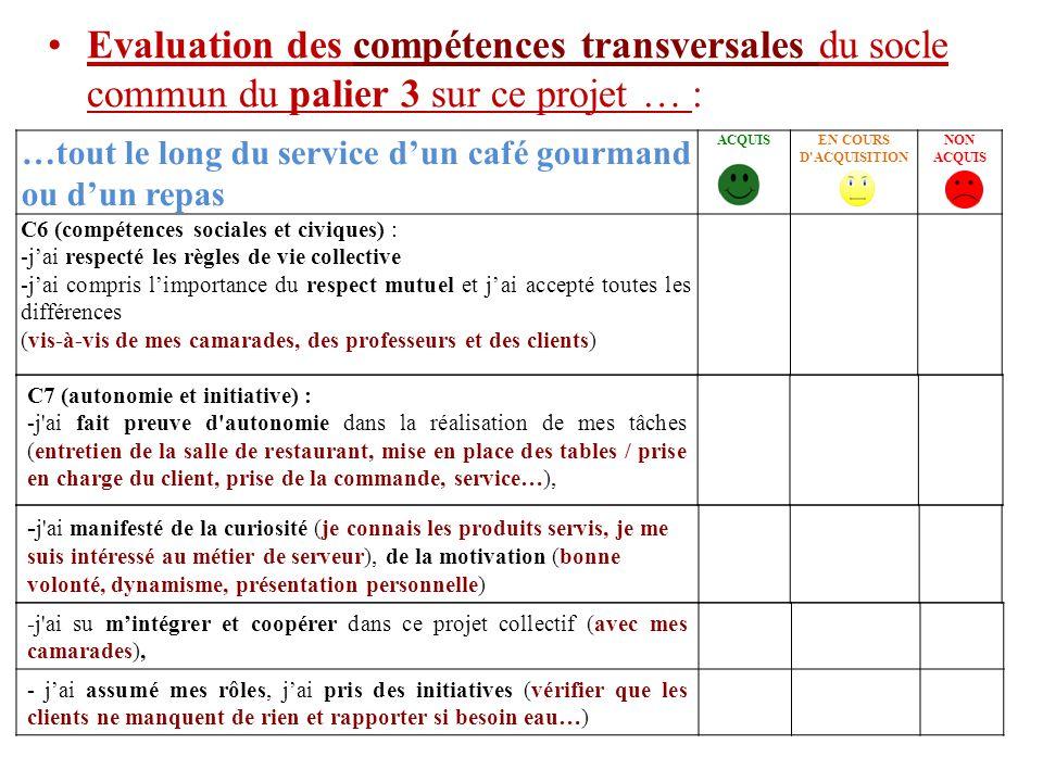 Evaluation des compétences transversales du socle commun du palier 3 sur ce projet … :