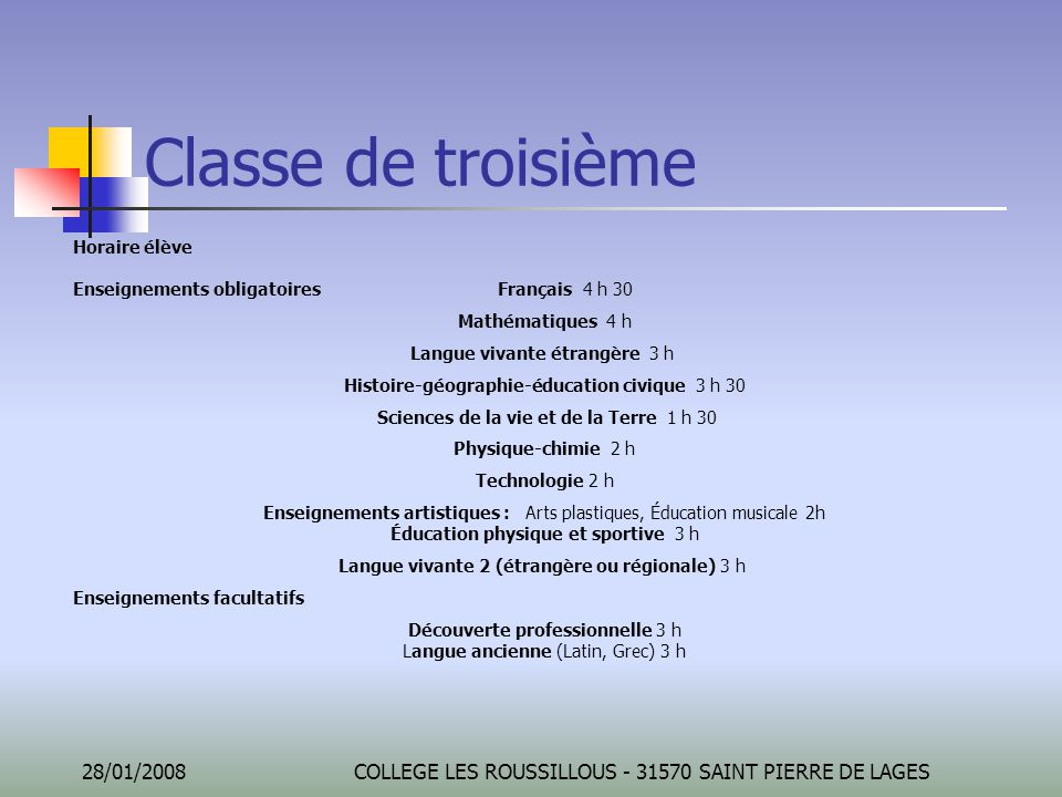 Classe de troisième Horaire élève Enseignements obligatoires Français 4 h 30. Mathématiques 4 h.