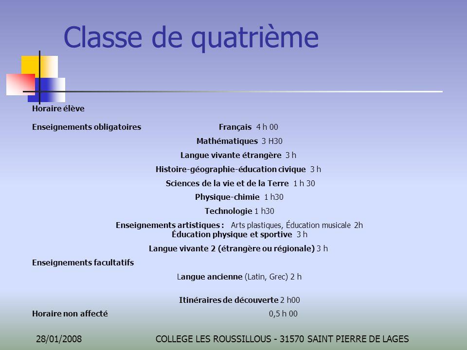Classe de quatrième Horaire élève Enseignements obligatoires Français 4 h 00. Mathématiques 3 H30.