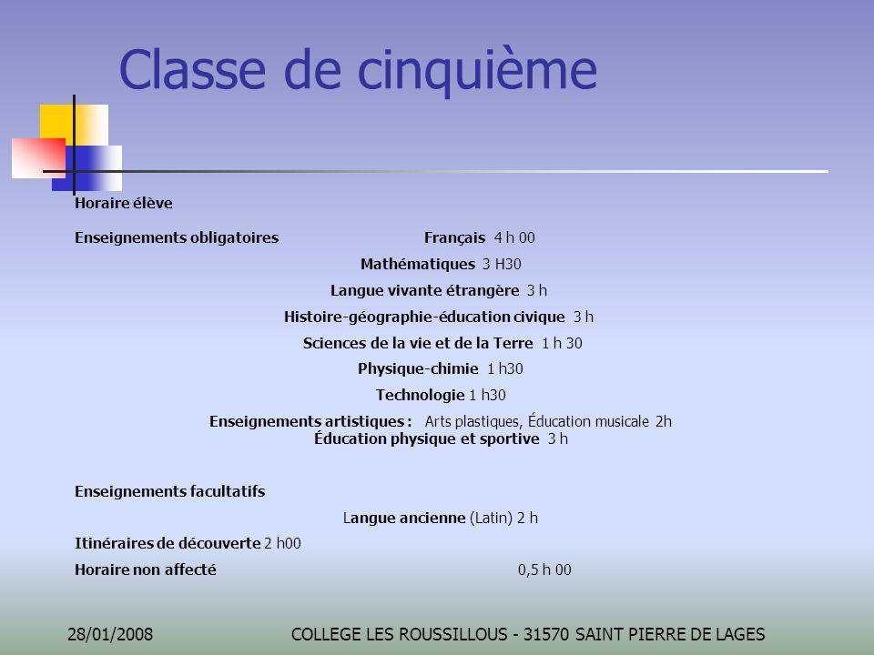 Classe de cinquième Horaire élève Enseignements obligatoires Français 4 h 00. Mathématiques 3 H30.