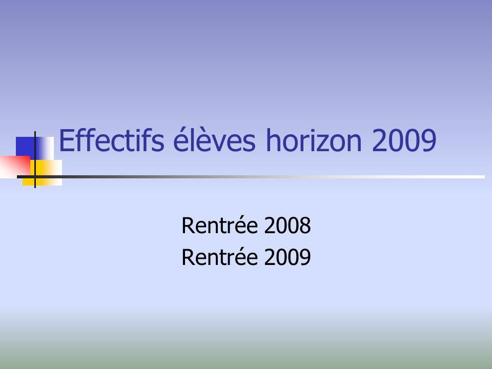 Effectifs élèves horizon 2009