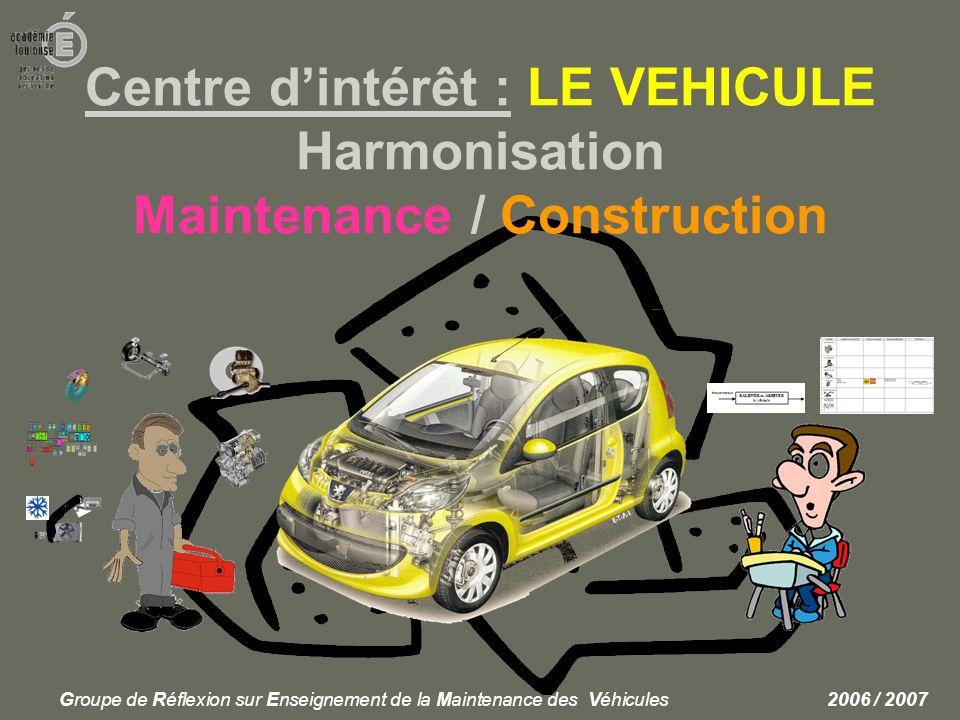 Centre d'intérêt : LE VEHICULE Harmonisation Maintenance / Construction