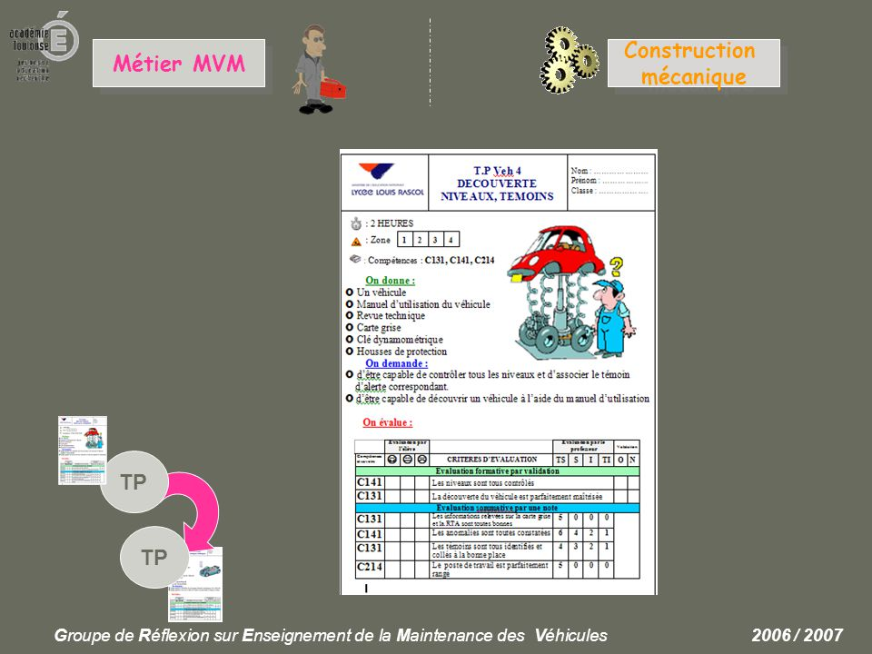 Construction Métier MVM mécanique TP TP