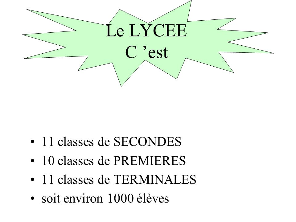 Le LYCEE C 'est 11 classes de SECONDES 10 classes de PREMIERES