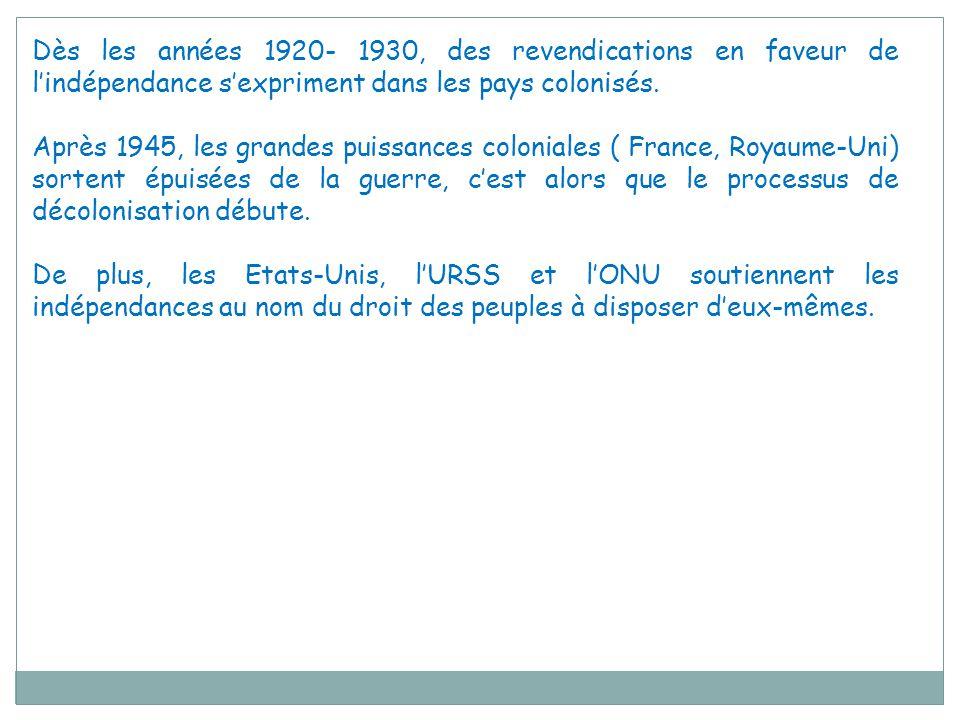 Dès les années 1920- 1930, des revendications en faveur de l'indépendance s'expriment dans les pays colonisés.