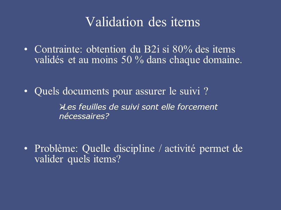 Validation des items Contrainte: obtention du B2i si 80% des items validés et au moins 50 % dans chaque domaine.