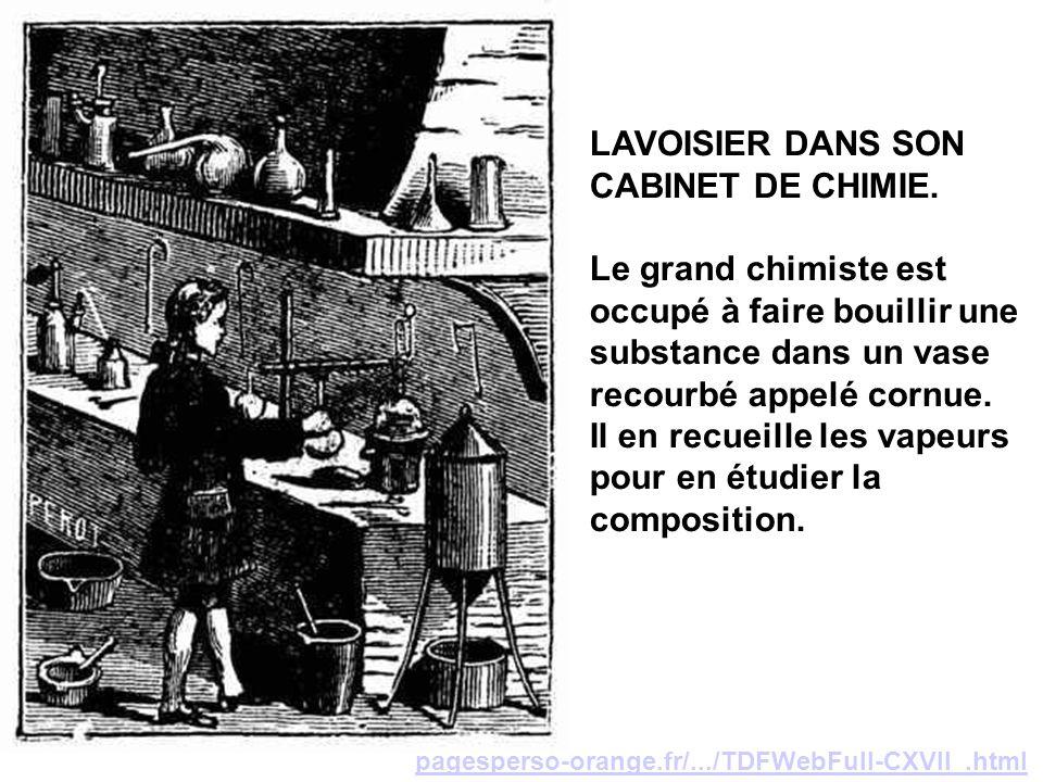 LAVOISIER DANS SON CABINET DE CHIMIE.
