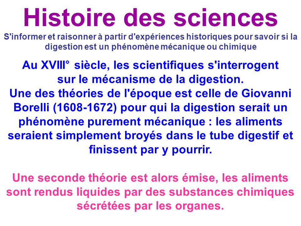 Histoire des sciences S informer et raisonner à partir d expériences historiques pour savoir si la digestion est un phénomène mécanique ou chimique.