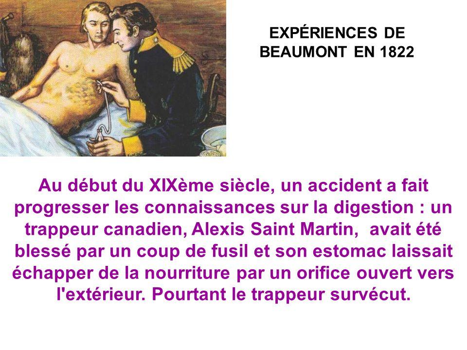 EXPÉRIENCES DE BEAUMONT EN 1822