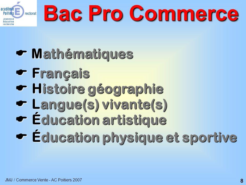 Bac Pro Commerce  Mathématiques  Français  Histoire géographie