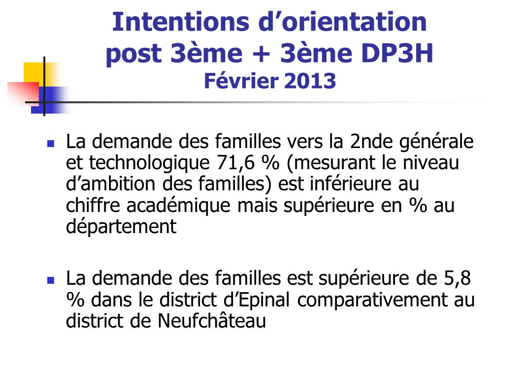 Intentions d'orientation post 3ème + 3ème DP3H Février 2013