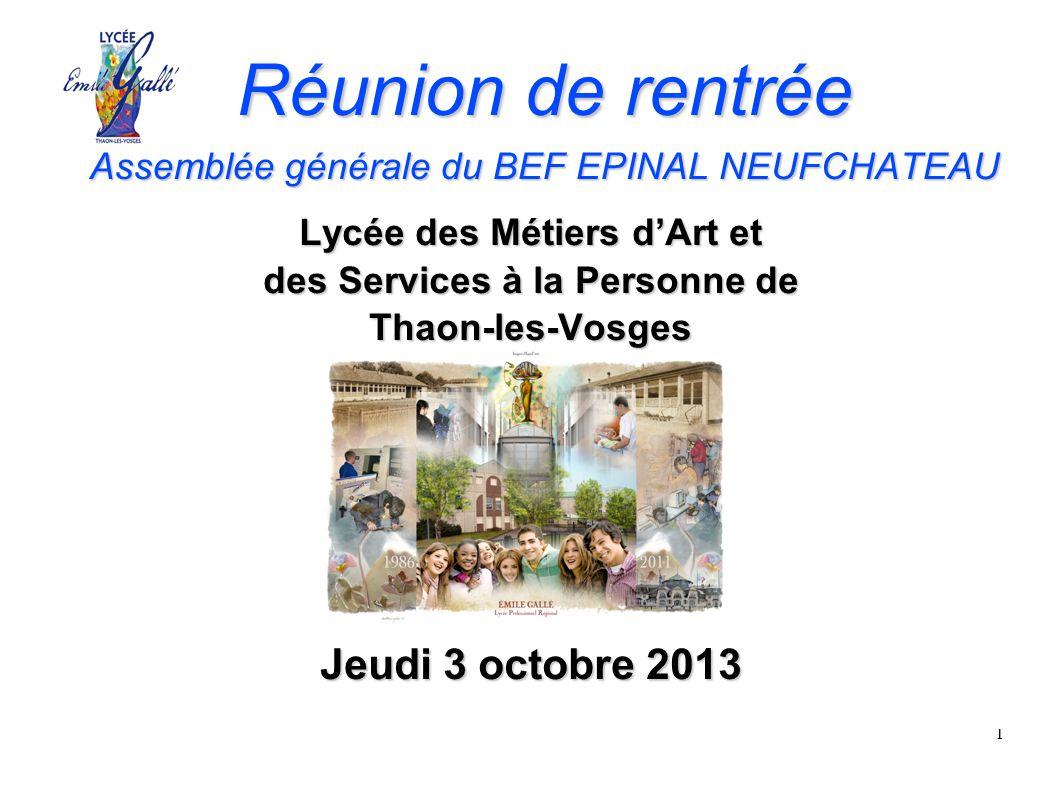 Réunion de rentrée Assemblée générale du BEF EPINAL NEUFCHATEAU