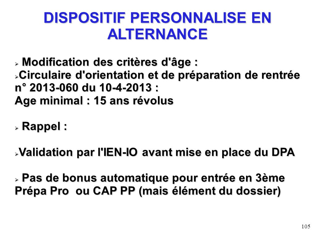 DISPOSITIF PERSONNALISE EN ALTERNANCE