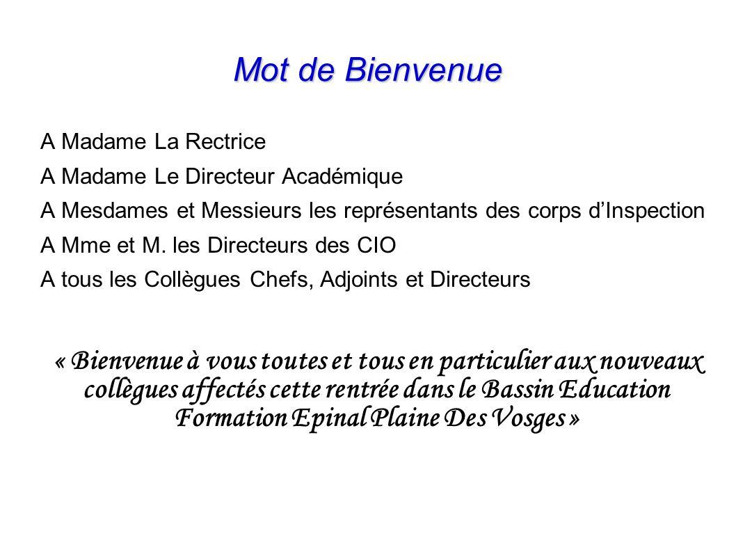Mot de Bienvenue A Madame La Rectrice. A Madame Le Directeur Académique. A Mesdames et Messieurs les représentants des corps d'Inspection.