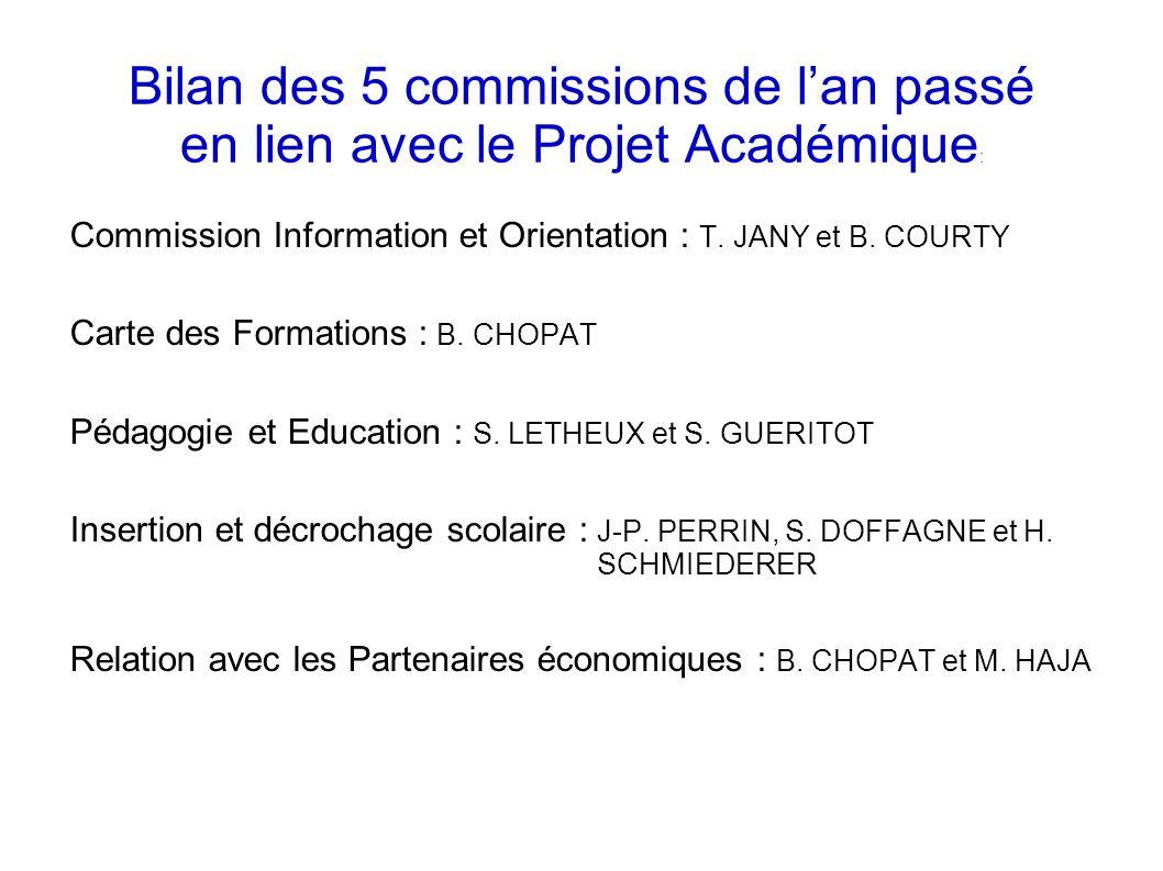 Bilan des 5 commissions de l'an passé en lien avec le Projet Académique: