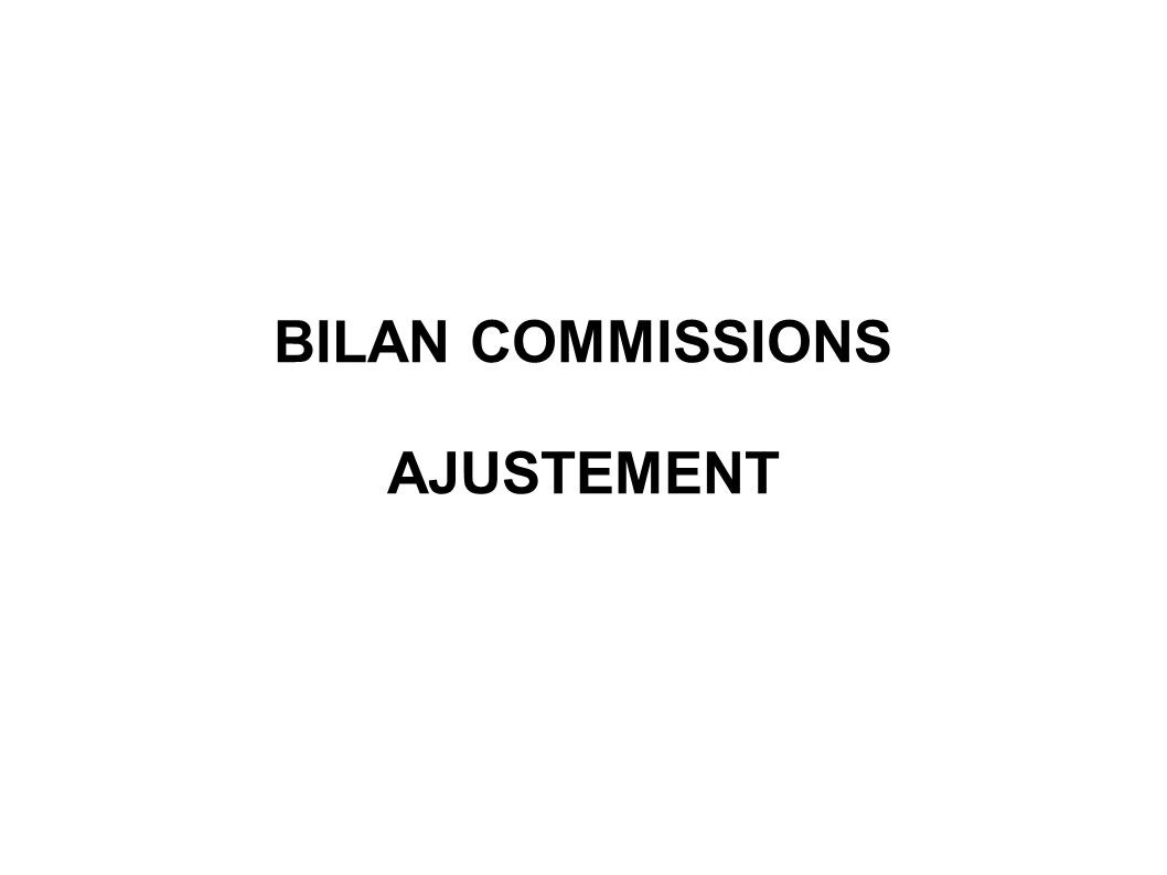 BILAN COMMISSIONS AJUSTEMENT