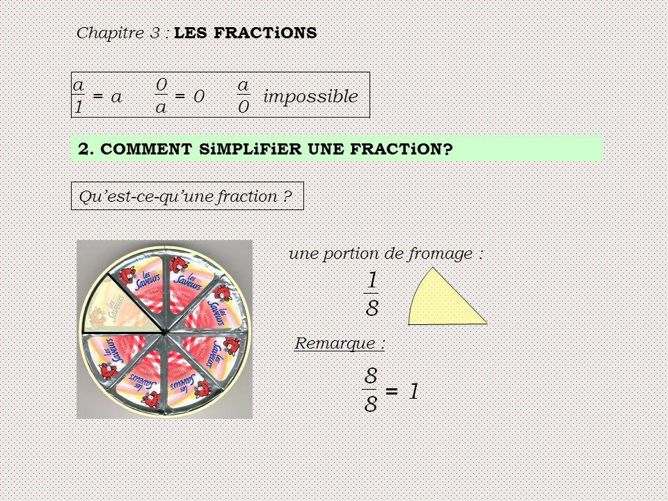 a 1 = impossible Chapitre 3 : LES FRACTiONS