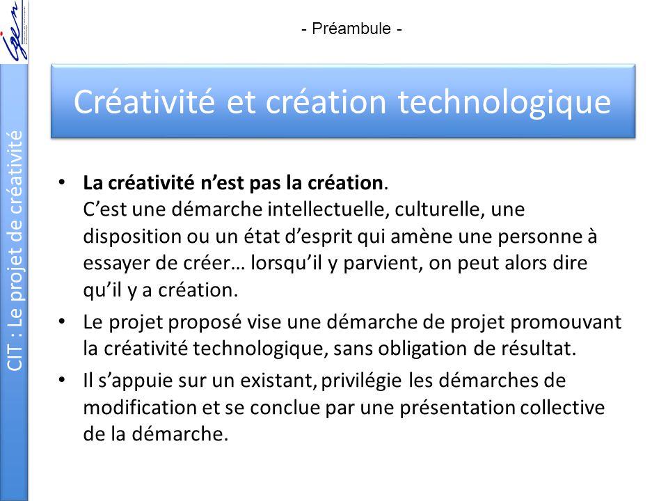 Créativité et création technologique