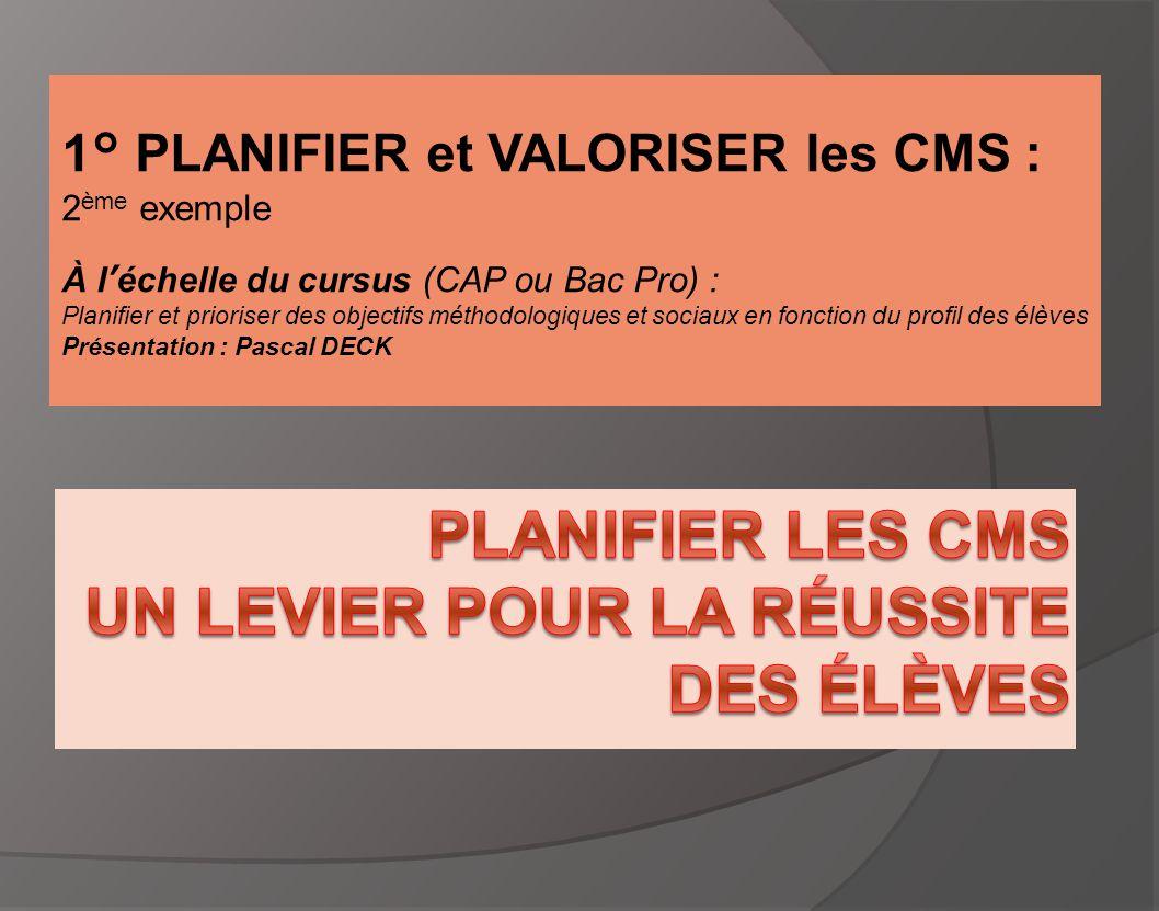 Planifier les CMS Un levier pour la réussite des élèves