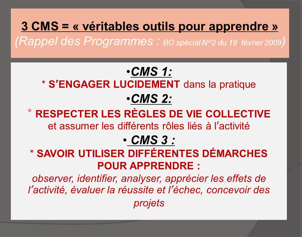 * RESPECTER LES RÈGLES DE VIE COLLECTIVE CMS 3 :