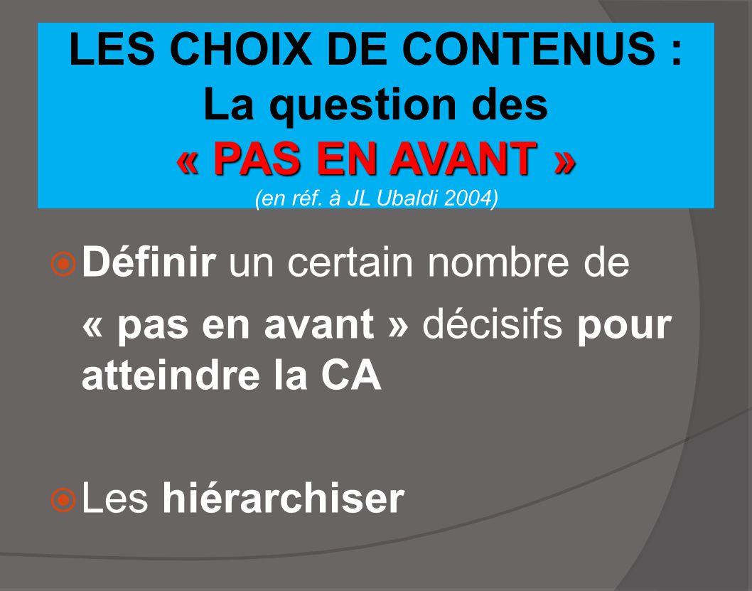 LES CHOIX DE CONTENUS : La question des « PAS EN AVANT » (en réf