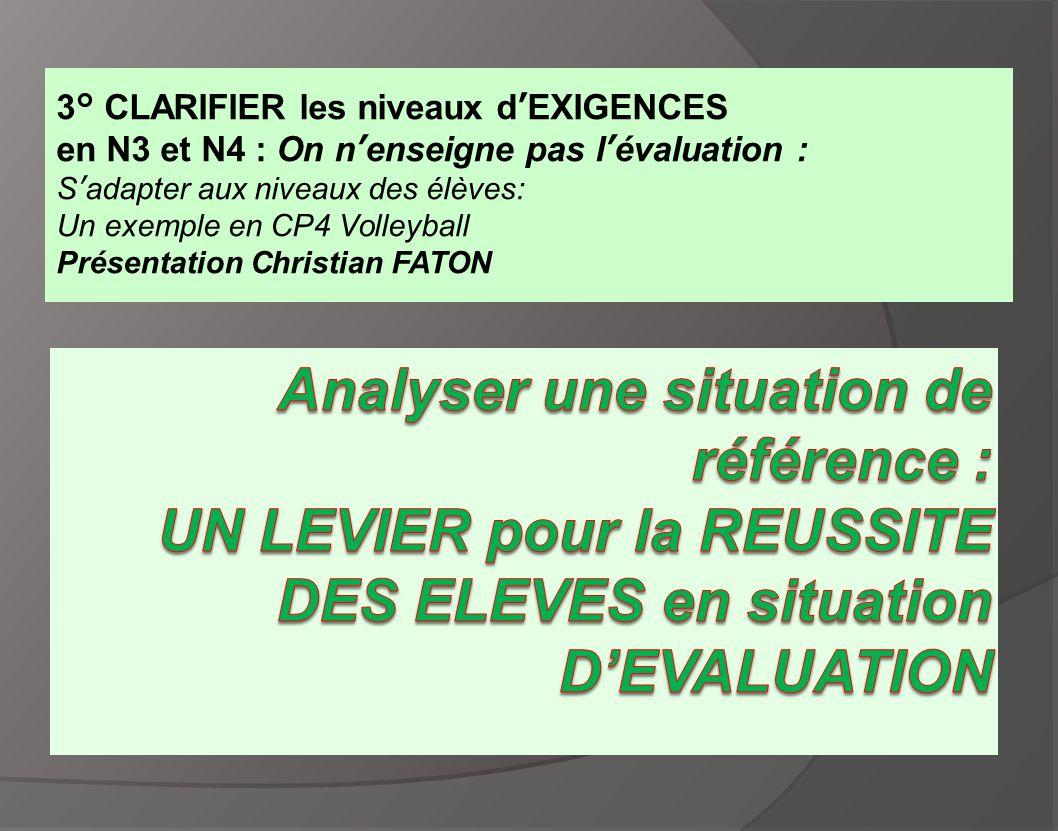 3° CLARIFIER les niveaux d'EXIGENCES