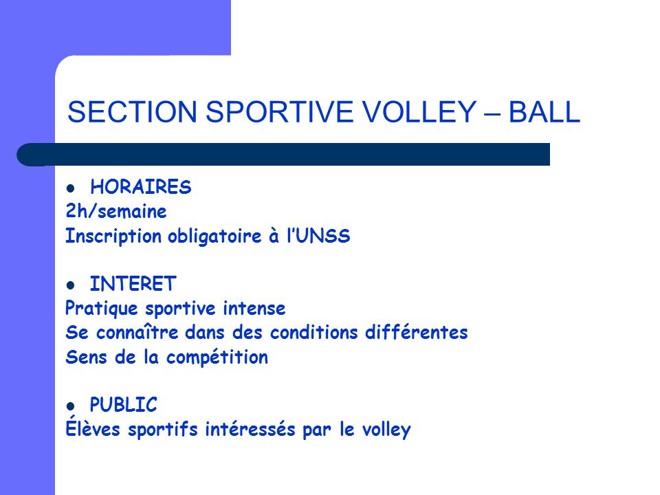 SECTION SPORTIVE VOLLEY – BALL