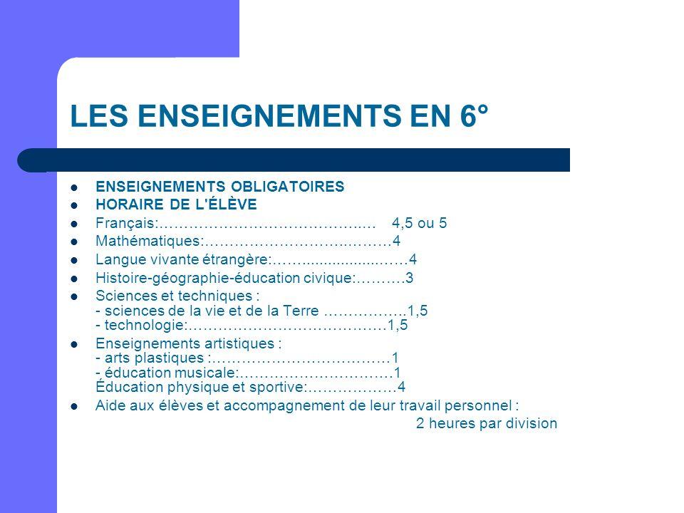 LES ENSEIGNEMENTS EN 6° ENSEIGNEMENTS OBLIGATOIRES HORAIRE DE L ÉLÈVE