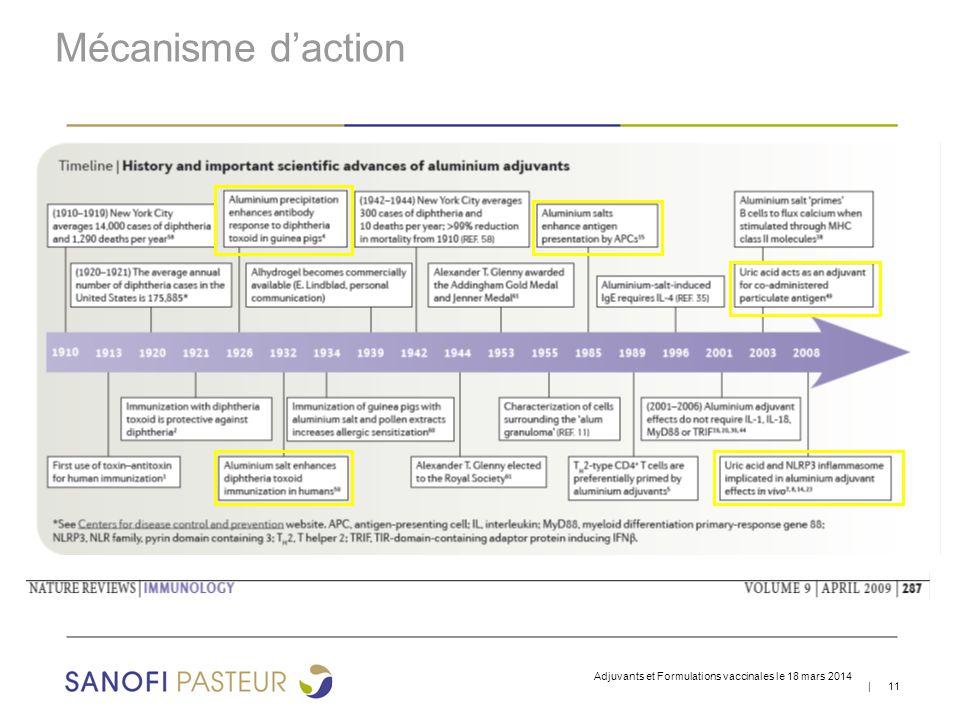 Mécanisme d'action Adjuvants et Formulations vaccinales le 18 mars 2014