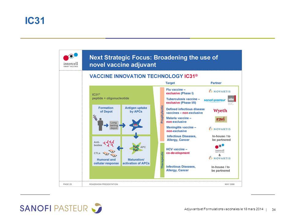 IC31 Adjuvants et Formulations vaccinales le 18 mars 2014