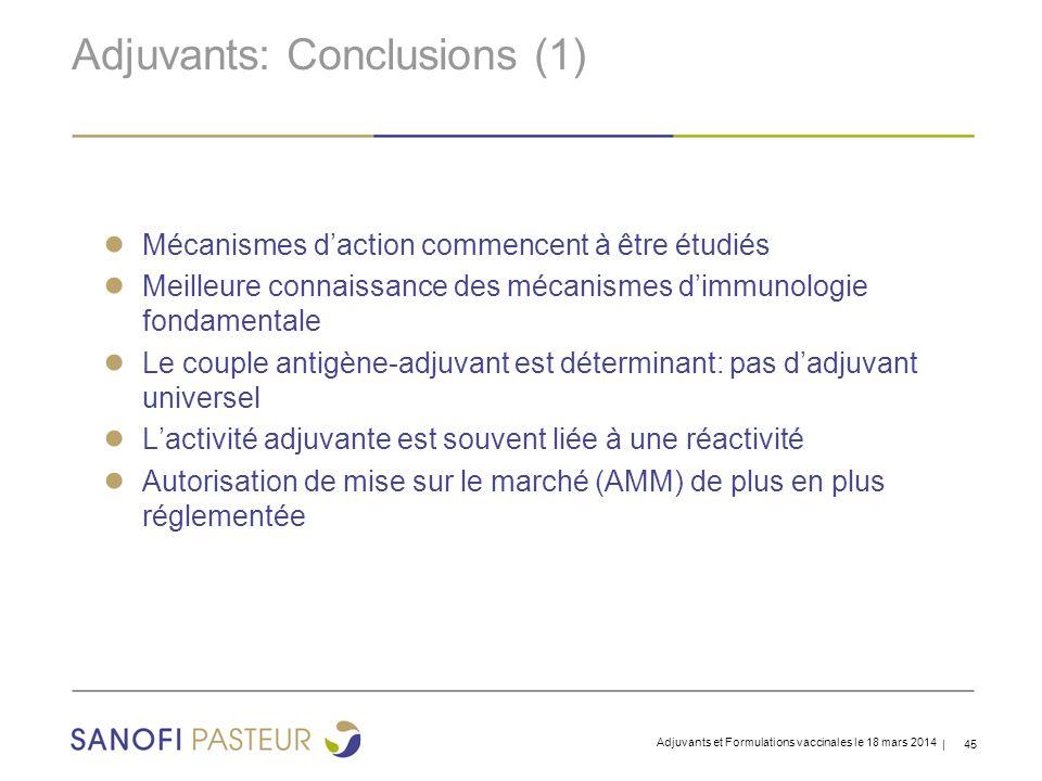 Adjuvants: Conclusions (1)