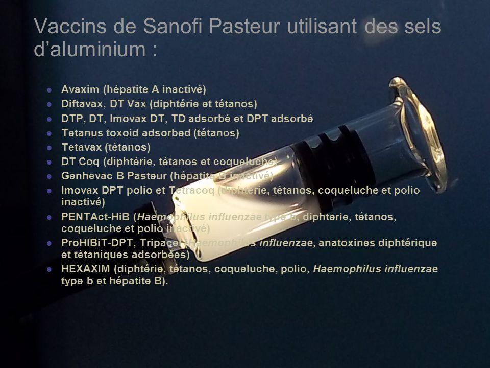 Vaccins de Sanofi Pasteur utilisant des sels d'aluminium :