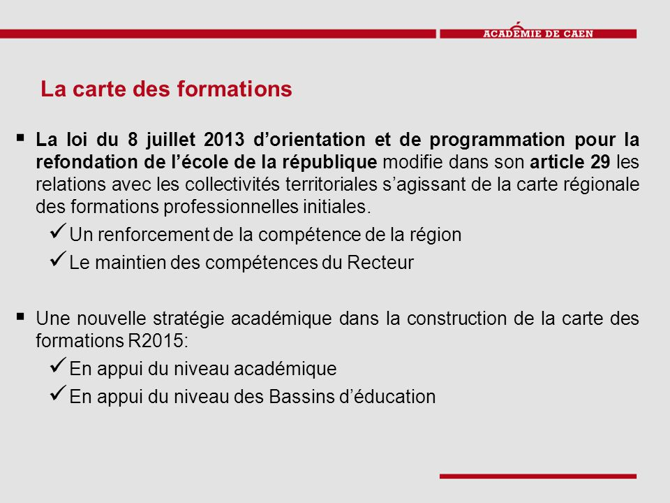 La carte des formations