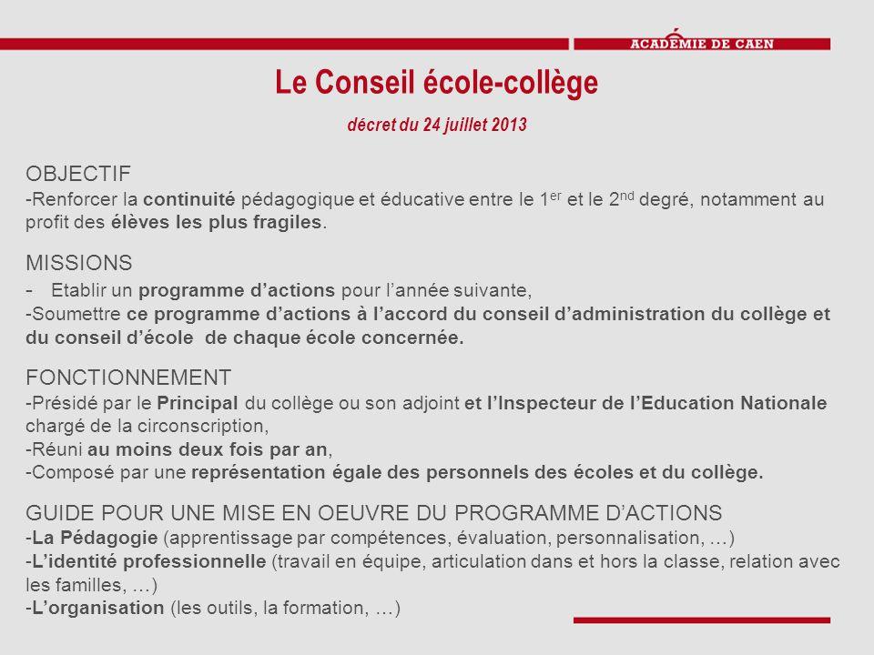 Le Conseil école-collège décret du 24 juillet 2013