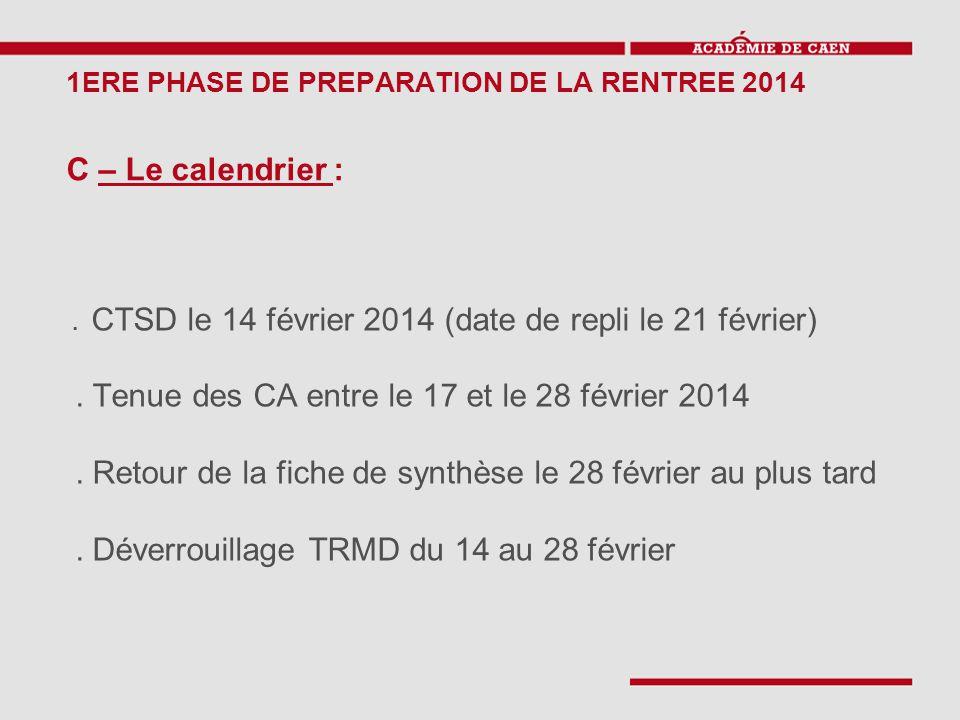 1ERE PHASE DE PREPARATION DE LA RENTREE 2014 C – Le calendrier :