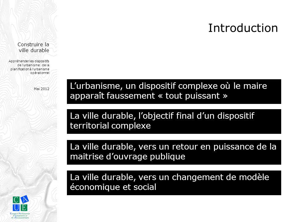 Introduction L'urbanisme, un dispositif complexe où le maire apparaît faussement « tout puissant » La ville durable.