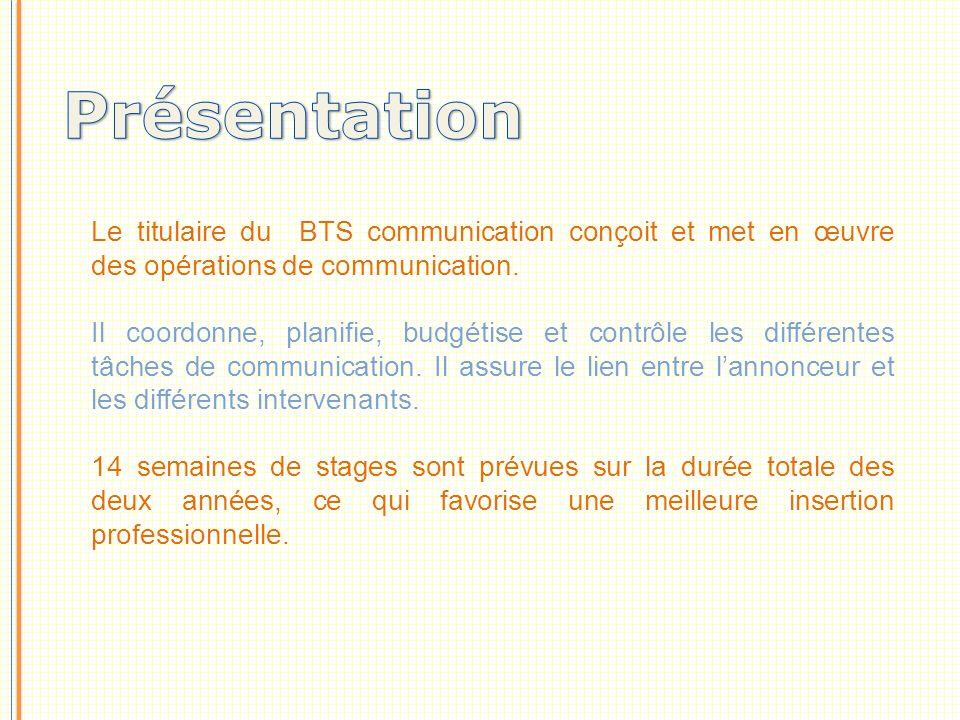 Présentation Le titulaire du BTS communication conçoit et met en œuvre des opérations de communication.