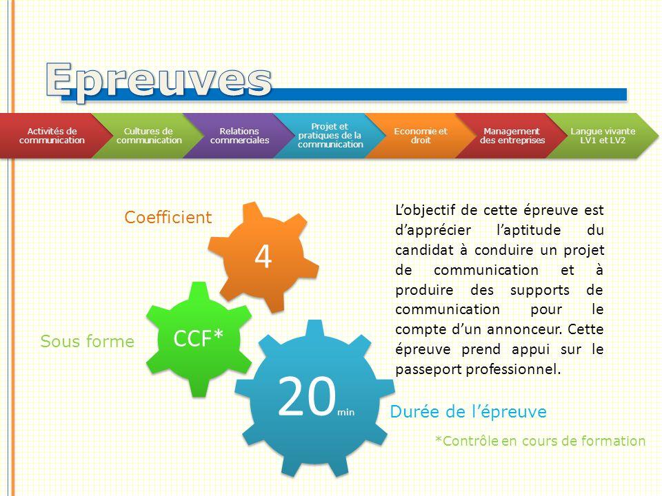 Epreuves Activités de communication. Cultures de communication. Relations commerciales. Projet et pratiques de la communication.