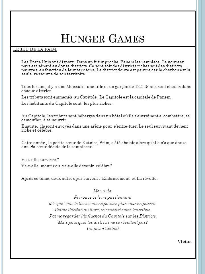 Hunger Games LE JEU DE LA FAIM: