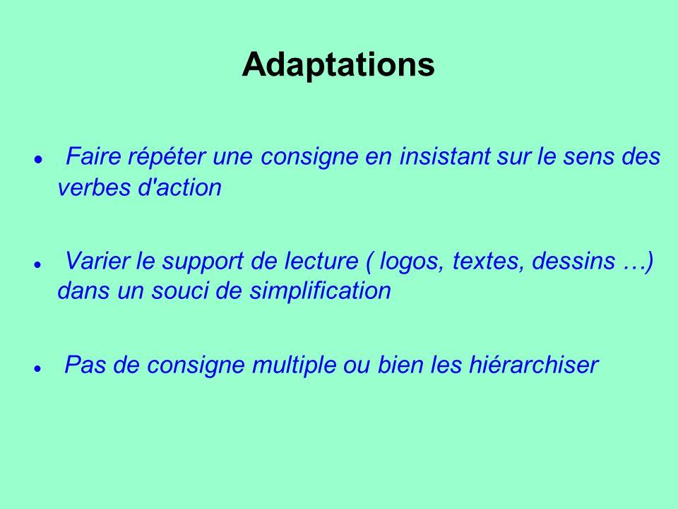 Adaptations Faire répéter une consigne en insistant sur le sens des verbes d action.