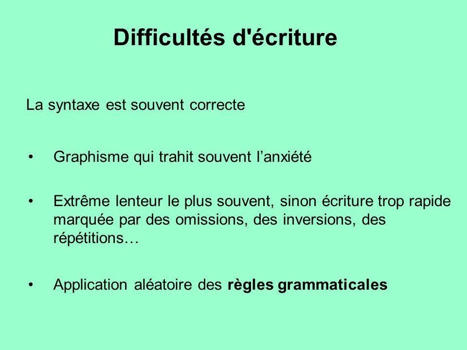 Difficultés d écriture